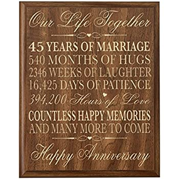 Parents 45th Wedding Anniversary Wall Plaque Gifts For Couple Her