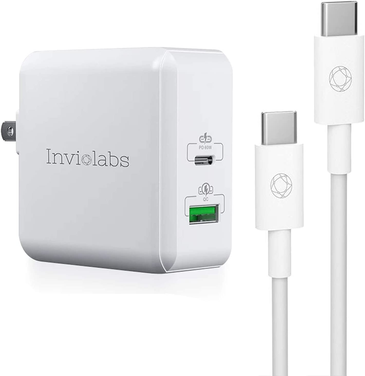 Inviolabs USB C Charger, 60W Fast chager 3.0 Wall Charger Adapter with 6ft USB-C to USB-C Cable, Dual Ports Portable USB Plug Cord Compatible with Universal Mobile Phone MacBook Laptop
