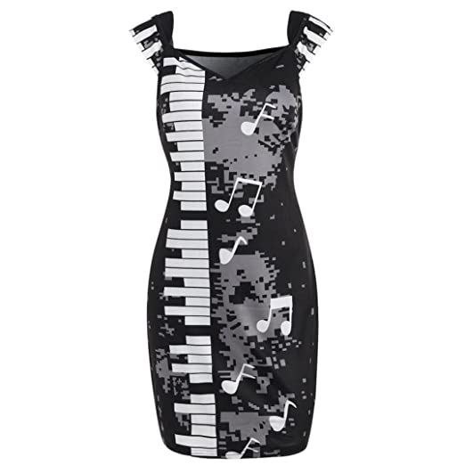 Sexy Womens Music Note Print Mini Dress Summer Culb Party Bandage Bodycon Dress (S,
