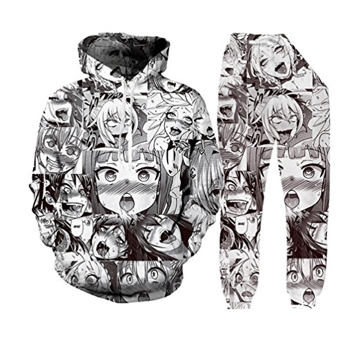 anime ahegao funny 3d print hoodies joggers hipster sexy