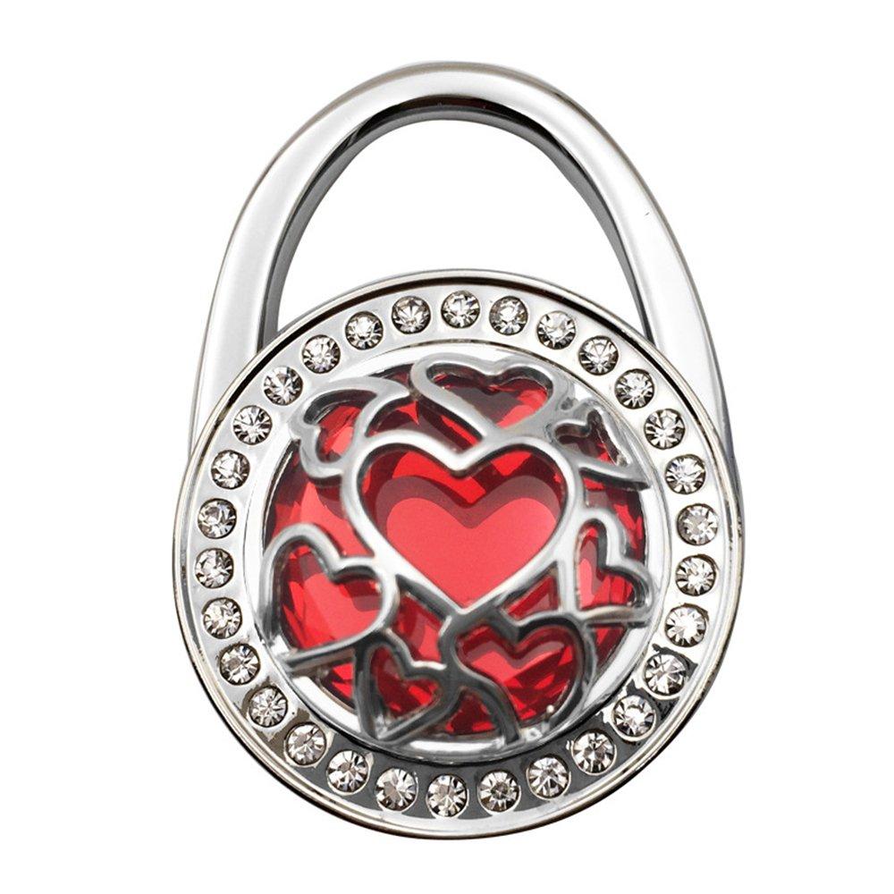 JewelBeauty Handbag Hangers Purse Hook Holder Held Storage Lightweight Metal Heart Cut-Out Crystal Bling Diamond Instant Folding Table Bag Hanger for Women Girls Set of 9