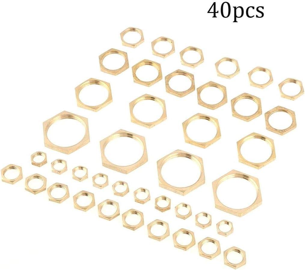 4 G3 2 G3 4 G1 8 G1 8 G1 LAQI 40 Piezas Tuercas de Bloqueo hexagonales de lat/ón Rosca de Montaje de tuber/ía Tuerca Delgada G1