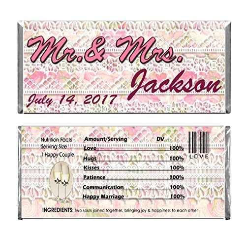 Wedding Lace Personalized Custom Wedding Reception Party Favors WRAPPERS ONLY for Hershey's Chocolate Candy Bars Set of 24 - Hershey Candy Wrapper