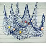 Bilipala Mediterranean Fishing Net Decoration, Fish Netting With Seashell Decor, Nautical Party Decorations, Blue