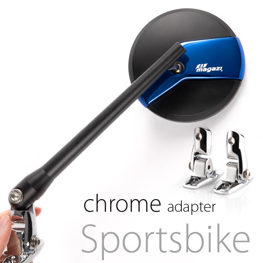 KiWAV Magazi Missie CNC aluminum motorcycle blue mirrors for Sports bike with chrome adapter