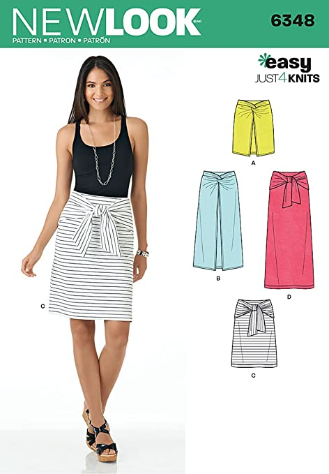 New Look 6348 Size A Misses Easy Knit Skirts Sewing Pattern Multi