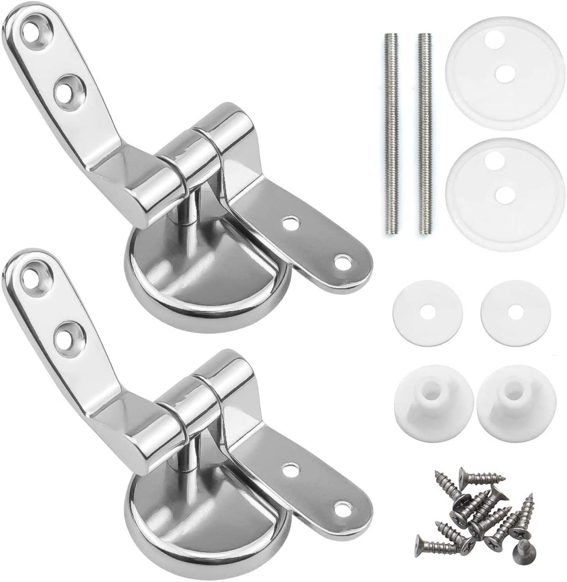 Natuce Toilet Seat Hinges Fittings, Chrome Finished Toilet Seat Fittings and Fixtures Perfect for Most Wooden | Resin | MDF Toilet Seats