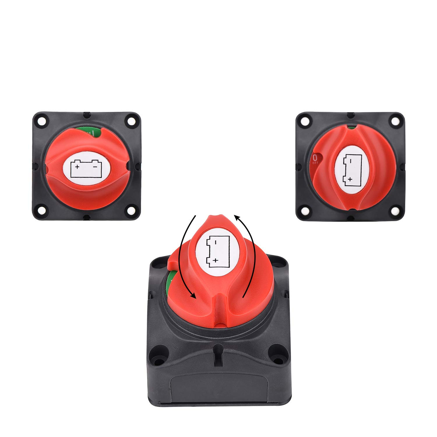 MOPEI 4-Position Battery Isolator Disconnect Switch for Car Camper RV and Marine Boat Comes with Copper Terminals and Shrink Tubes 12-48V DC 200 Amps Continuous
