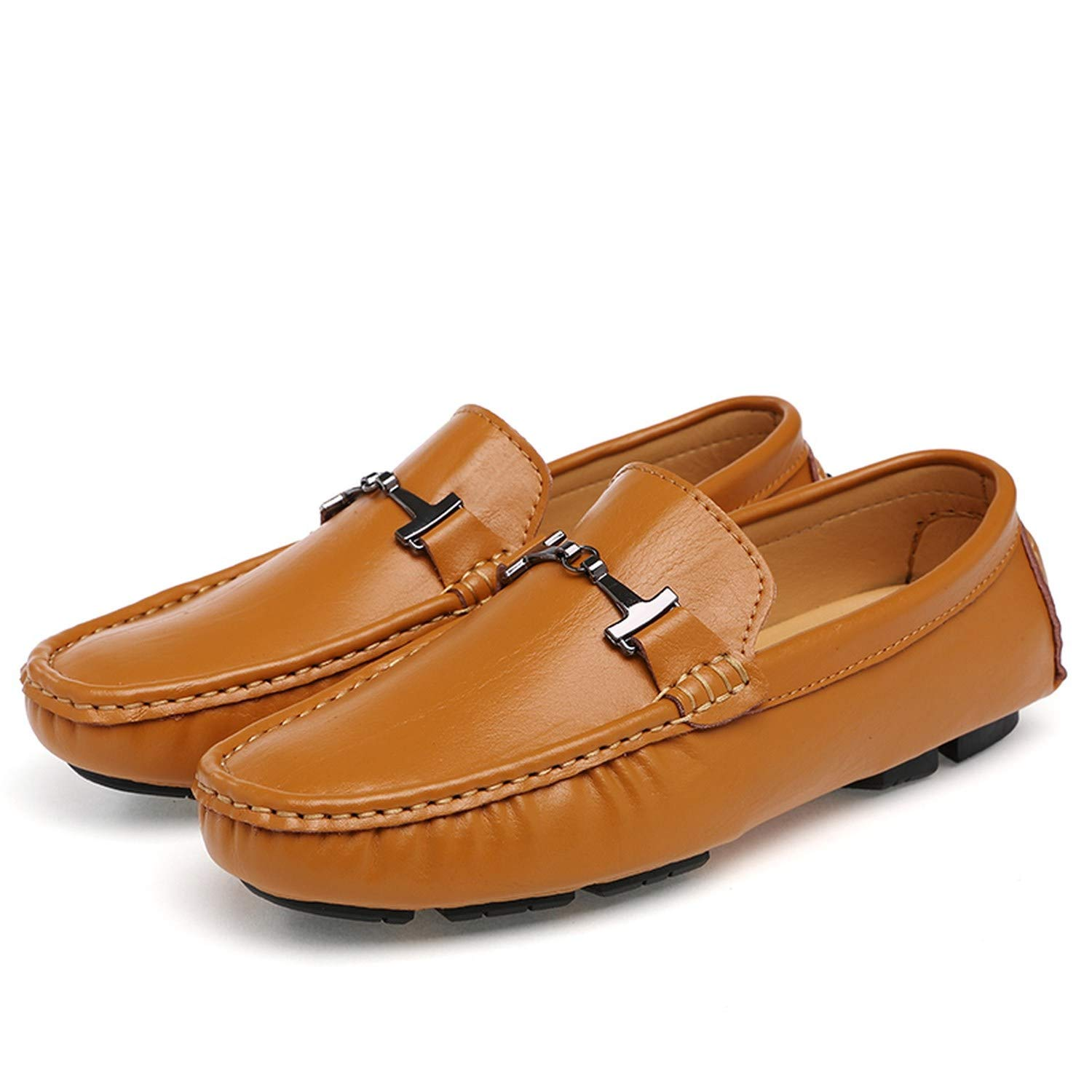 crazy-shop Men Leather Casual Shoes Loafers Mens Moccasins Chaussures Male Breathable Formal Driving Shoes,Brown,12.5
