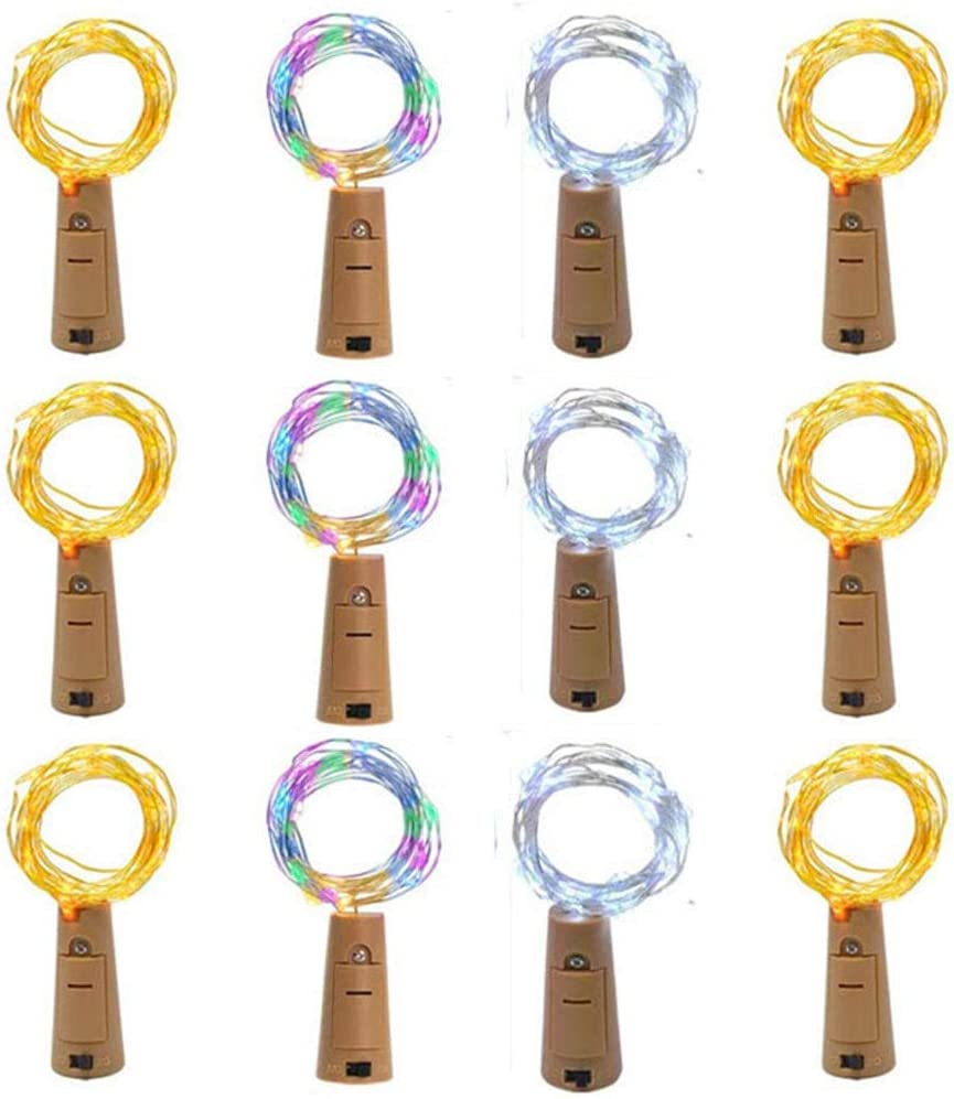 GUANFU 12 Lamp Sets Wine Bottle Lights with Cork 20Led,3 Colors Set with Spare Screwdriver, LED Fairy Lights DIY Room Party Christmas Halloween Wedding Birthday Dinner Bar Decor -Color Mixing