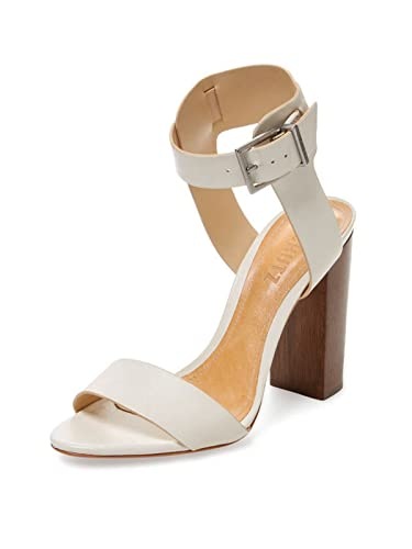 22378408592 SCHUTZ Charlise Pearl Off White Leather Ankle-Wrap High Block Heel Sandal  (5.5)