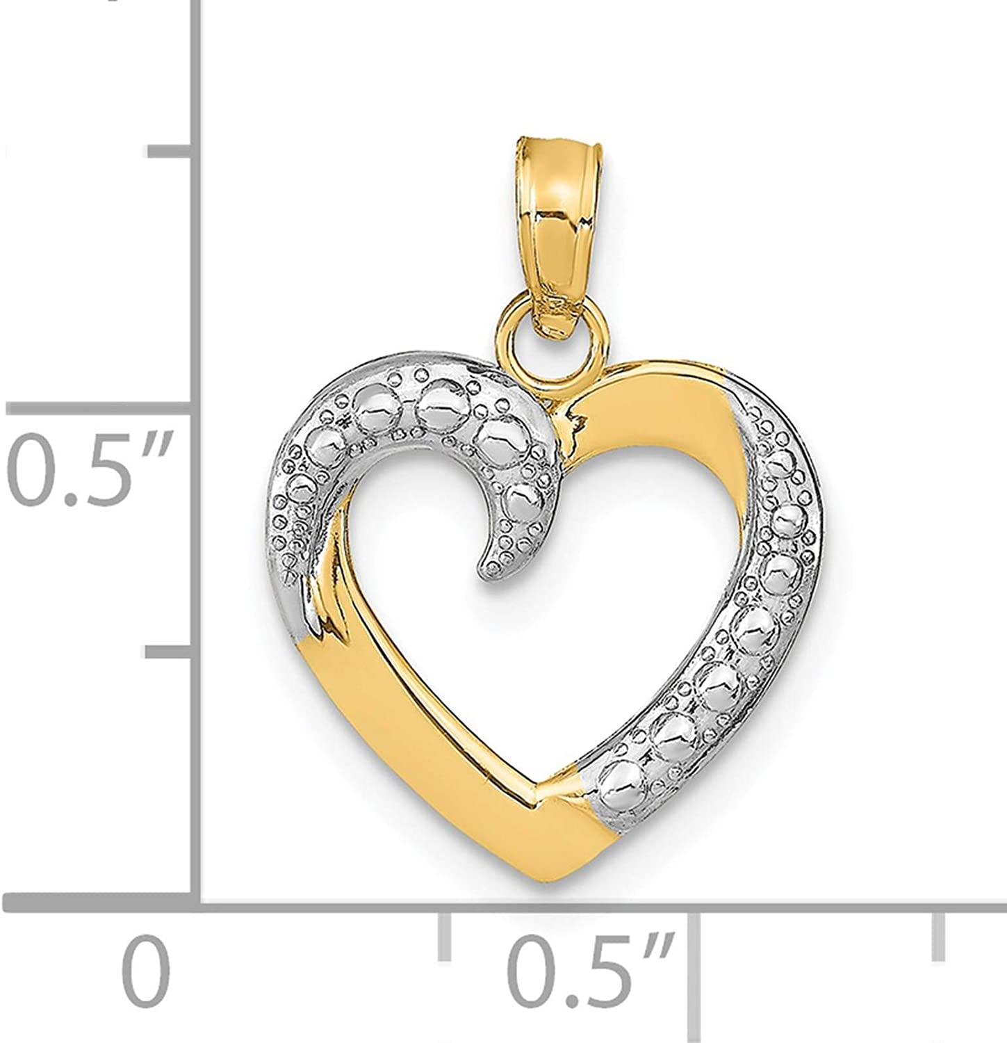 14K Yellow Gold /& Rhodium-plated Polished /& Textured Heart Charm Pendant