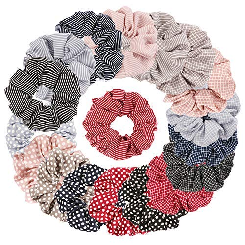 Ondder 18 Pack Women's Hair Scrunchies Hair Bow Chiffon Ponytail Holder, Including 6 Colors Striped Hair Scrunchies, 6 Colors Polka Dot Hair Scrunchy Ties, and 6 Colors Plaid Scrunchy