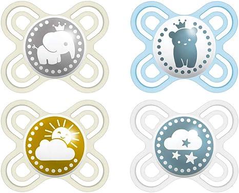Chupete de silicona Mam Day & Night de 0 – 6 meses //Juego De 4//Incluye colgador Baby Fehn //Incluye 2 cajas de transporte de esterilización.: Amazon.es: Bebé