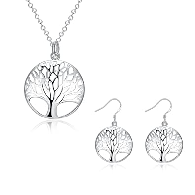 Women's Sterling Silver Tree Of Life Jewellery Set In A Gift Box baiTiRahpb