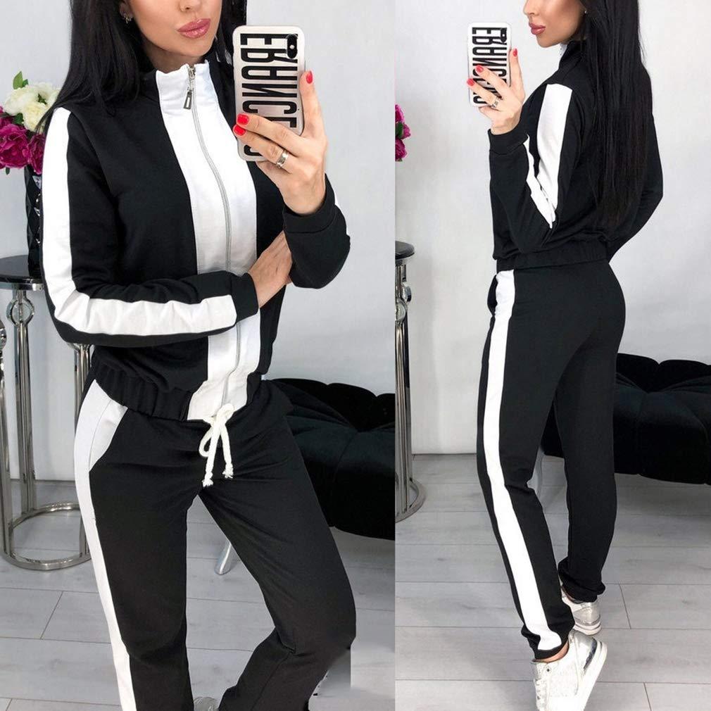 MEIHAOWEI Set Tuta Donna 2pezzi Completi Sportivi Manica Lunga Pantaloni Aderenti Felpa con Cerniera Allenamento Palestra