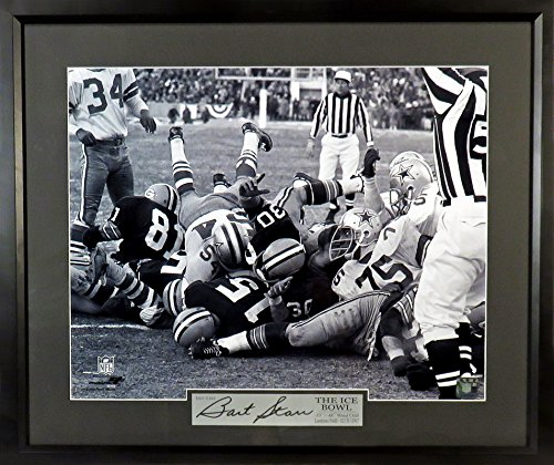 "Green Bay Packers Bart Starr ""Ice Bowl TD"" 16x20 Photograph (SGA Signature Engraved Plate Series) Framed Bart Starr Memorabilia"