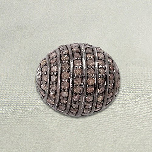 925 Sterling Silver Genuine Pave Diamond Beads Handmade Jewelry by Jaipur Handmade Jewelry