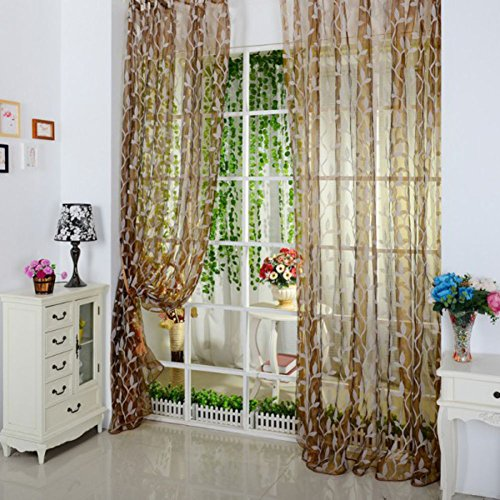 Sungpunet Tulle Room Door Window Curtain Drape Panel Sheer Scarfs Valances Leaf