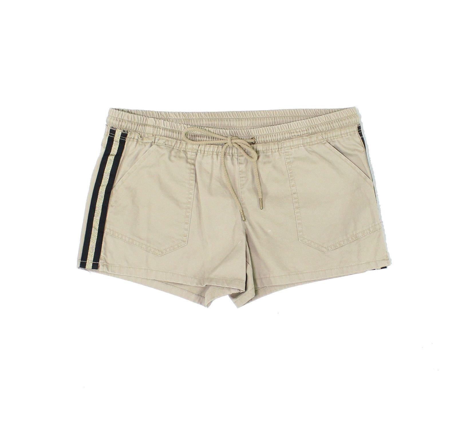 Jolt 27W Junior Metallic Stripe-Trim Drawstring Shorts Beige 5