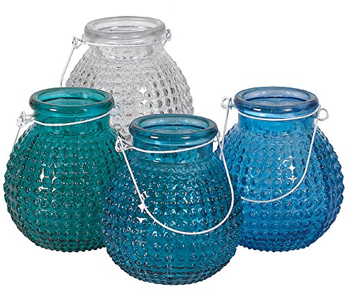 Hobnail Glass Jar Vase with White Wire Hanger - Blues & Clear - Set of 4 ()