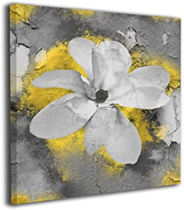 """Yanghl Canvas Wall Art Prints Yellow Gray Modern Abstract Floral Modern Decorative Artwork for Wall Decor and Home Decor Framed Ready to Hang 12""""x12"""""""