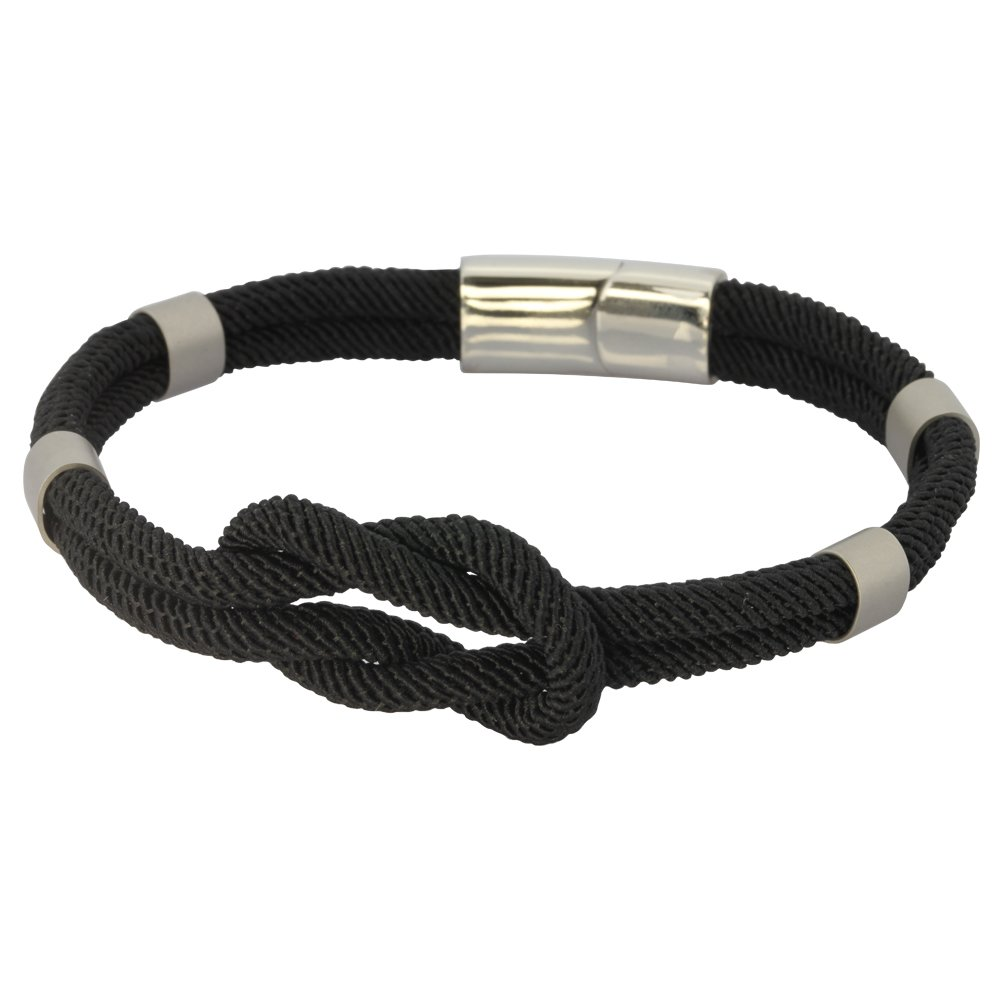 Infinity Fabric Rope Ankle Wrist Friendship Bracelet Hawaiian Jewelry in 316L Stainless Steel/Black. Endless Love Symbol For Stylish Men, Women, Boys and Girls Cool Gift for Her and Him