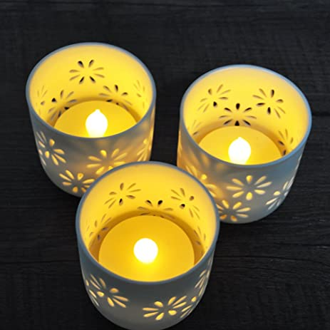 HOME MOST Set Of 3 White Ceramic Candle Holder With LED Flameless Tea  Lights (3u0026quot