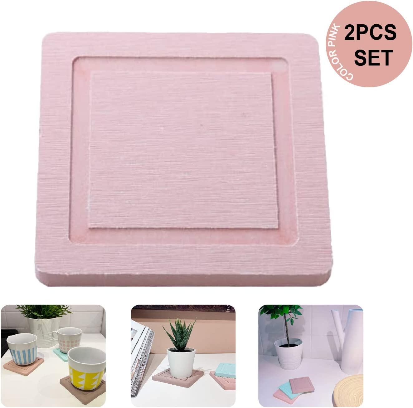 Sunny Eli Diatomite Cup Coaster Mat 2 Pack, Coasters for Drinks, Diatomite Cup Holder Mat, Coasters, Fast Water Absorbent Coasters, Self-Dry Diatomaceous Cup Holder, Small Plant Tray (Pink)