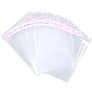 200 Pcs 2'' x 3'' Clear Resealable Cellophane Cello Bags Resealable Adhesive on Flap Self Sealing OPP Poly Bags Tiny Clear Bags Self Seal Clear Plastic Poly Bags for Jewelry Candies Cookies Decorative