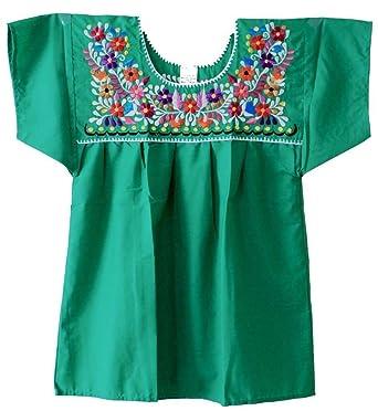 Amazon.com: Mexicano Puebla Campesina Blusa XXL (Verde ...