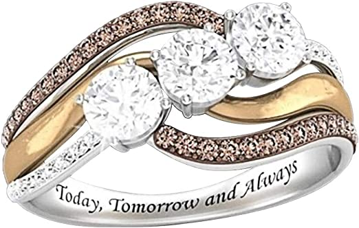 Amazon Com Newdiva Romantic Wedding Band Rings Classic Crystal