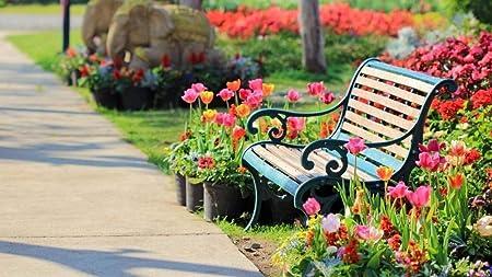 ZZXSY Rompecabezas 1000 Piezas Parks, Flower, Garden, Bench ...