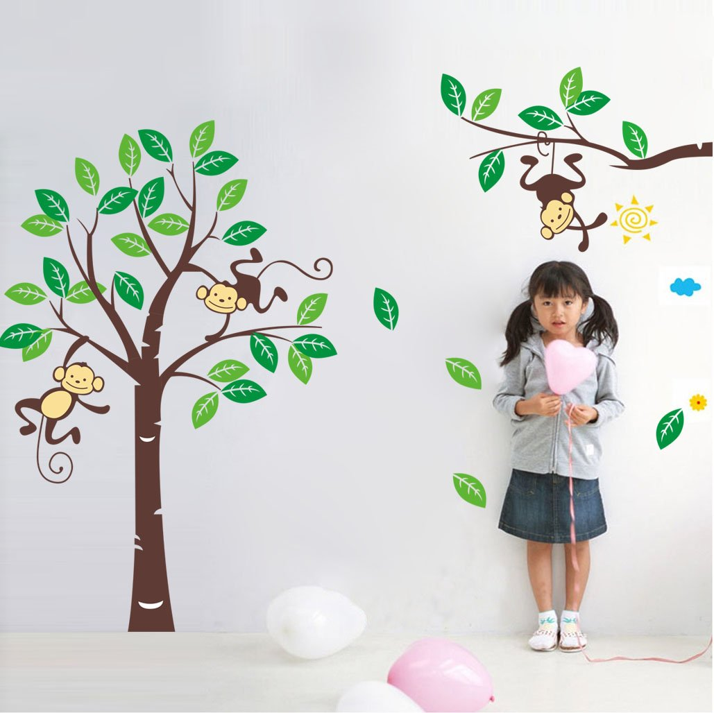 Amazon.com: Cute Monkey Climbing On Beautiful Tree Monkey Wall Decal  Nursery Wall Decal: Baby