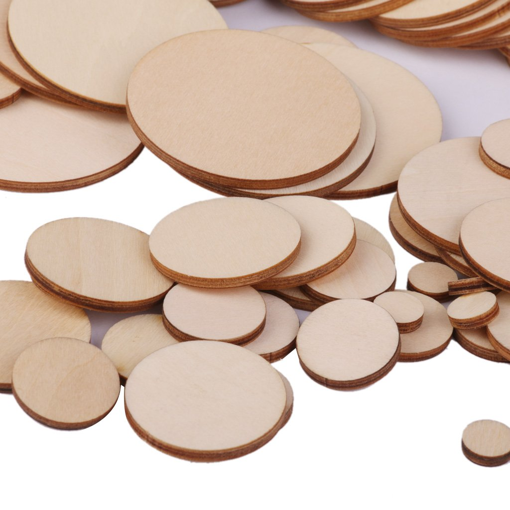 6 Sizes 25pcs 50mm Prettyia Natural Wood Circles Unfinished Round Blank Wooden Cutout Slices Discs DIY Crafts for Book Signing Sunday School Birthday Game Boards