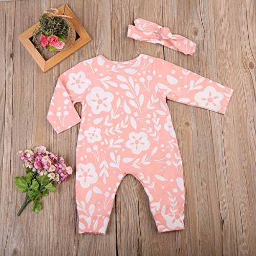 Newborn Infant Baby Girls Floral Long Sleeve Bodysuit Footie Romper Jumpsuit With Headband Outfits (6-12 Months, Pink)