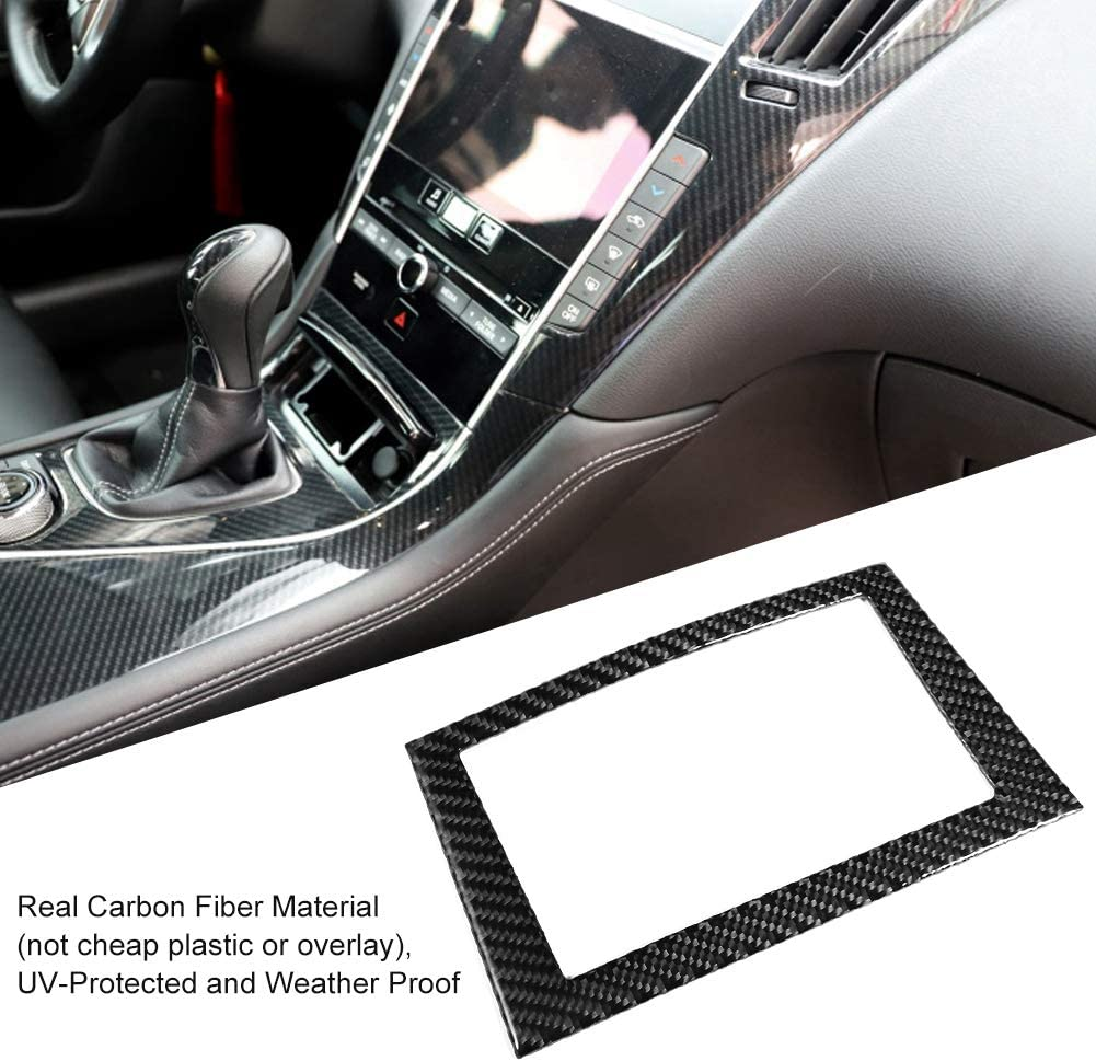 Akozon Car Navigation Screen Frame Trim Car Interior Carbon Fiber Car Navigation Screen Frame Trim Cover Accessory Fit for Infiniti Q50//Q60 2013-2019