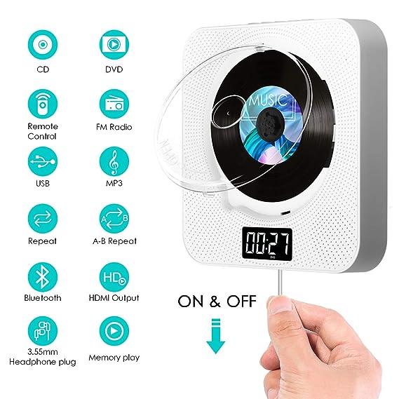 bluetooth DVD CD Player, SAWAKE tragbar DVD Spieler an der Wand montierbaren mit HDMI / Fernbedienung / Timing-Funktion / FM-