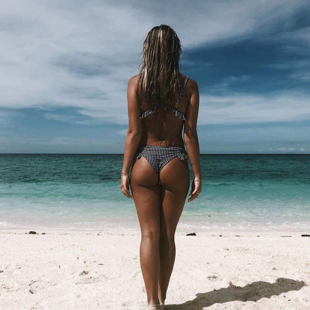 TJSZW Traje de ba/ño Bikini de Mujer a Cuadros Set Trajes de ba/ño Trajes de ba/ño Ruffles Push up tri/ángulo Trajes de ba/ño Ropa de Playa S