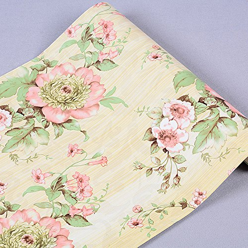 Large Roll Self Adhesive Floral Contact Paper Shelf Liner for Kitchen Drawers Cabinets Shelves Table Arts and Crafts Wall Decal (45x1000cm, Yellow) (Vintage Toile Wallpaper)