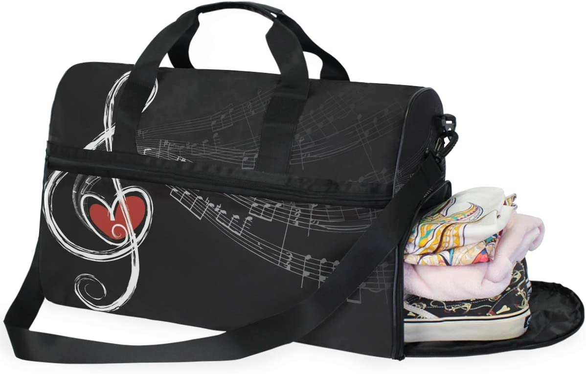 AHOMY Music Notes Sports Gym Bag with Shoes Compartment Travel Duffel Bag