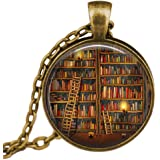 SENFAI Fashion Vintage Library and Books Pendant Necklace Book Lover Pendant Books Jewelry Best Gift