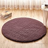 Gray purple round carpet / computer chair swing chair thick mat / basket hoist carpet / children bedroom bedside living room study desk non-slip mat ( Size : Diameter 200cm )