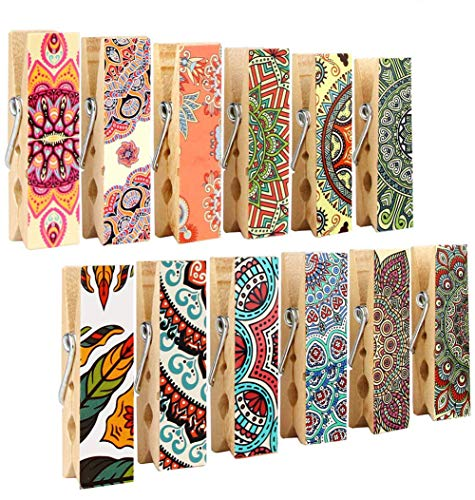 Clips Magnet Clothespin - 12pcs Refrigerator Magnet Clips by Cosylove-Decorative Magnetic Clips Made of Wood with Beautiful Patterns–Super Fridge Magnets for House Office Use - Display Photos,Memos, Lists, Calendars