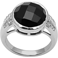 Bezel Set Black Spinel Gemstone 925 Sterling Silver Wedding Solitaire Ring
