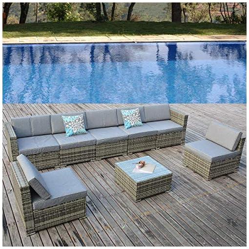 Garden and Outdoor YITAHOME 8 Piece Outdoor Patio Furniture Sets, Garden Conversation Wicker Sofa Set, and Patio Sectional Furniture Sofa… patio furniture sets