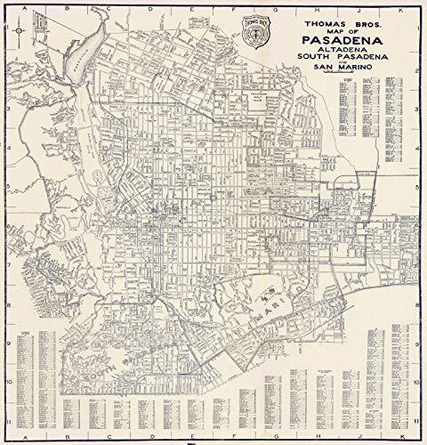 San Marino California Map.Amazon Com Historic Map Thomas Bros Map Of Pasadena Altadena
