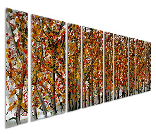 Birch Glass Waterfall (Pure Art Firelight Trees and Birches - Large Forest Metal Wall Art of 86