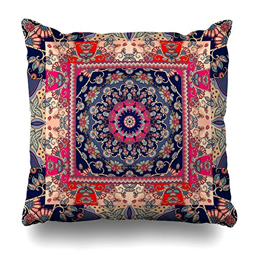 Ornamental Silk Square Scarf - Ahawoso Throw Pillow Cover Kerchief Moroccan Shawl Ethnic Russian Ornamental Patchwork Pattern Scarf Bandana Tissue Decorative Pillow Case 20x20 Inches Square Home Decor Pillowcase