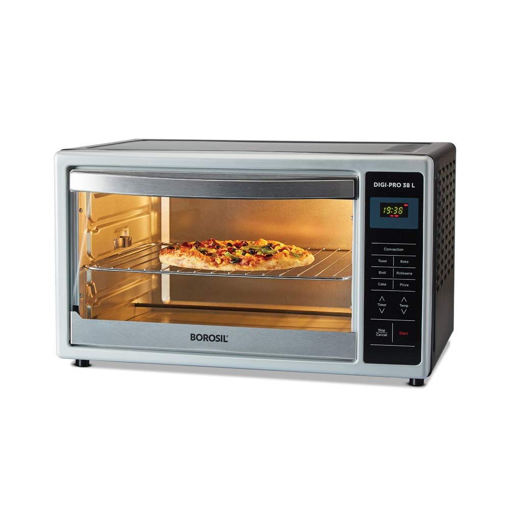 Borosil DIGIPRO 38L, Digital OTG, with Motorised Rotisserie and Convection, 1500W, 4 Stage Heat Selection, Black
